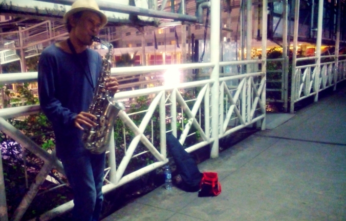 Luki the Saxophone Man. Can be seen at Plaza Indonesia, Ratu Plaza busway bridge